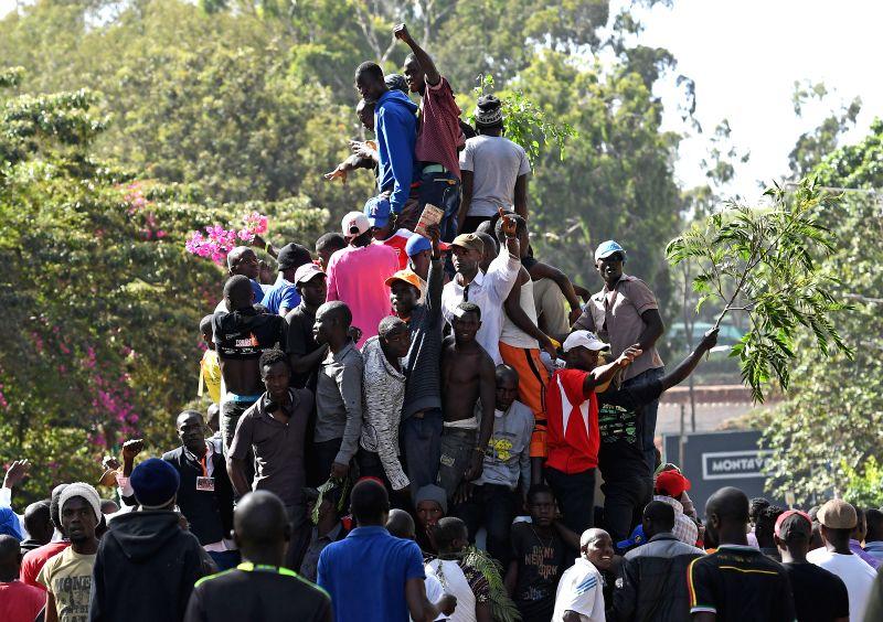 NAIROBI, Jan. 30, 2018 - Supporters of opposition leader Raila Odinga gather at Uhuru Park in Nairobi, Kenya, Jan. 30, 2018. Kenya's main opposition party, National Super Alliance (NASA), on Tuesday ...