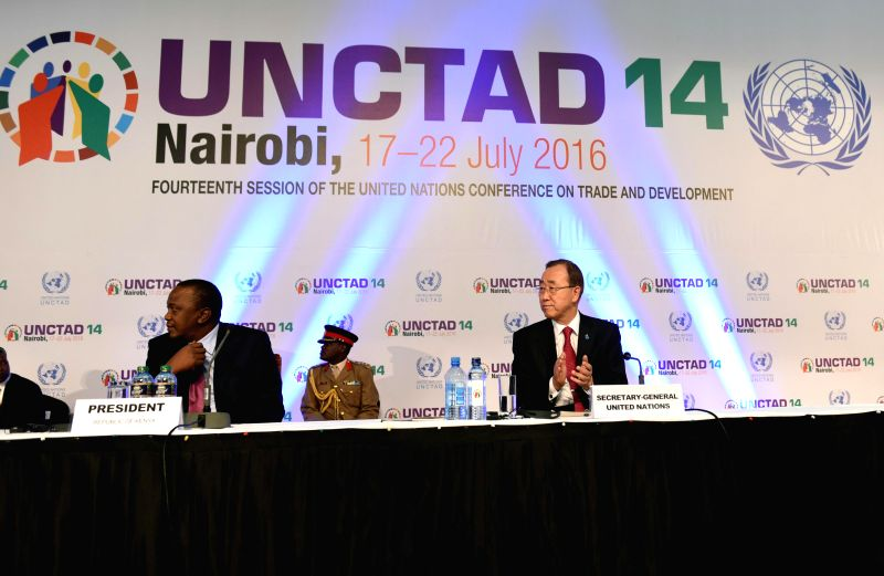 NAIROBI, July 18, 2016 - UN Secretary-General Ban Ki-moon (R, front) and Kenyan President Uhuru Kenyatta (L, front) attend the opening ceremony of the 14th session of the UN Conference on Trade and ...