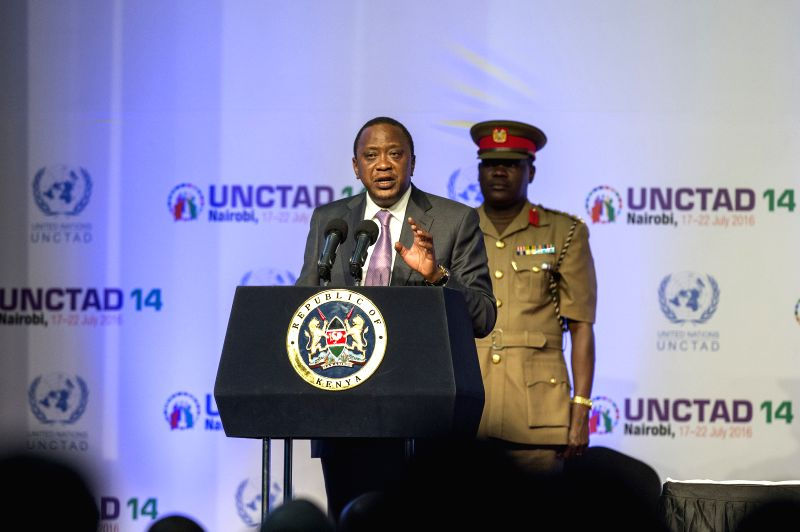 NAIROBI, July 23, 2016 - Kenyan President Uhuru Kenyatta (Front) delivers a speech during the closing ceremony of the 14th session of the UN Conference on Trade and Development (UNCTAD 14) in ...