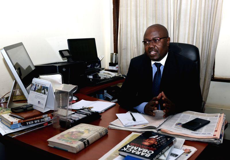 NAIROBI, July 27, 2016 - Paul Udoto, the spokesman for Kenya Wildlife Service (KWS), introduces measures that Kenya has taken to protect visitors to the country's wildlife sanctuaries, in Nairobi, ...