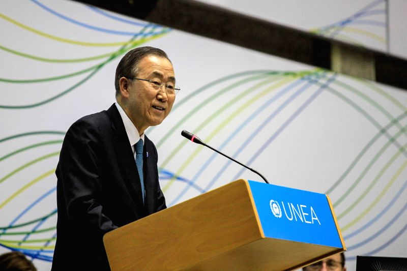 Secretary-General of the United Nations Ban Ki-moon addresses the closing session of the first UN Environment Assembly (UNEA) in Nairobi, capital of Kenya, June 27,