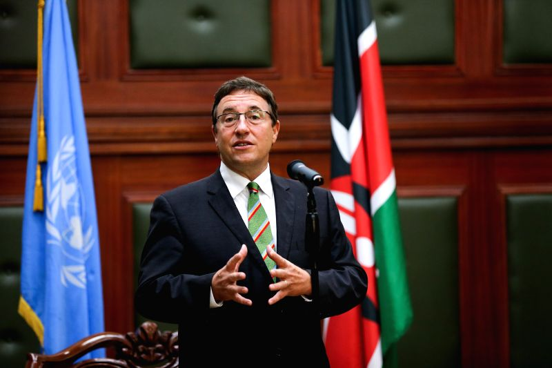 NAIROBI, May 18, 2016 - Achim Steiner (C), Executive Director of the United Nations Environmental Program (UNEP), speaks during a press conference in Nairobi, Kenya, on May 18, 2016. The Kenyan ...