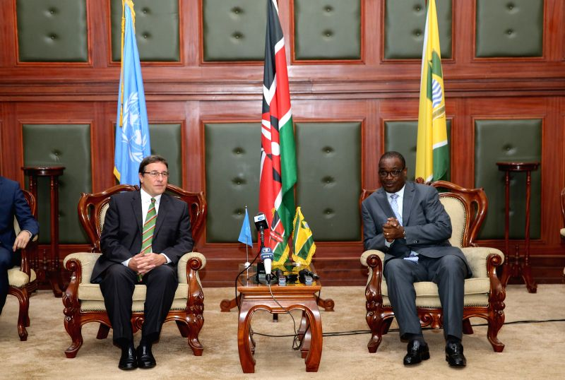 NAIROBI, May 18, 2016 - Achim Steiner (L), Executive Director of the United Nations Environmental Program (UNEP), and Evans Kidero (R), Nairobi City County Governor, attend a press conference in ...