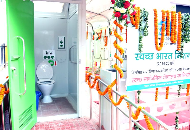NAMMA public toilet - sensor-based solar toilets, suggested by former president late APJ Abdul Kalam during the inauguration of the modern 'Swachh Sauchalay' at Sikka Market, shopping ...