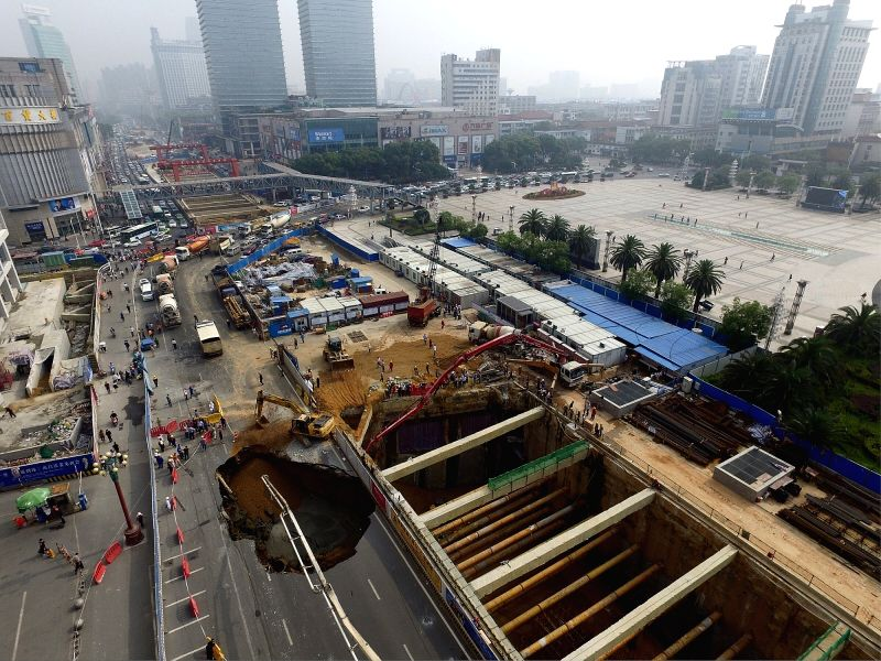 NANCHANG, May 14, 2016 - The aerial photo taken on May 14, 2016 shows the collapsed ground at the construction site of the Bayi Square subway station in Nanchang, capital of east China's Jiangxi ...