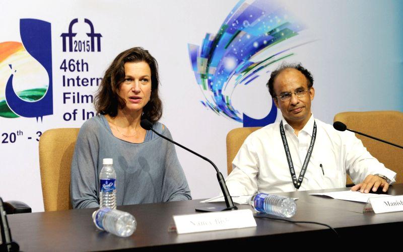Nancy Bishop: Casting Director Nancy Bishop address a press conference, at the 46th International Film Festival of India (IFFI-2015), in Panaji, Goa on Nov 23, 2015.