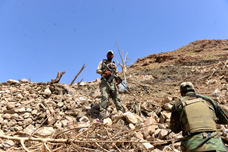 NANGARHAR, April 30, 2017 - Afghan army soldiers inspect at the site of a U.S. bombing in Achin district of Nangarhar province, Afghanistan, April 28, 2017. On April 13, the U.S. forces in ...