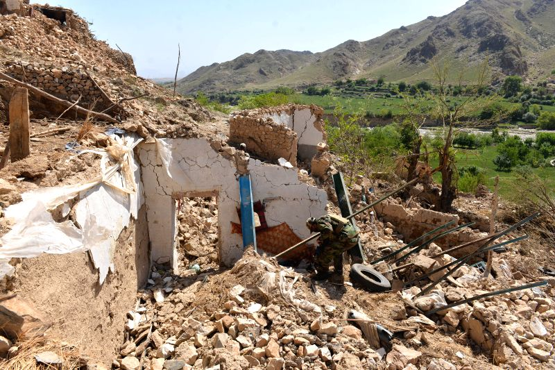 NANGARHAR, April 30, 2017 - An Afghan army soldier inspects at the site of a U.S. bombing in Achin district of Nangarhar province, Afghanistan, April 28, 2017. On April 13, the U.S. forces in ...