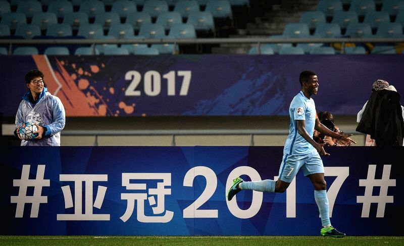 NANJING, April 25, 2017 - Ramires (R) of China's Jiangsu FC celebrates after scoring during the AFC Champions League  Group H football match between China's Jiangsu FC and South Korea's Jeju United ...