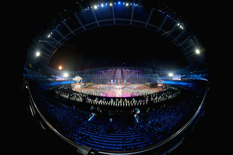 Artists perform during the opening ceremony of Nanjing 2014 Youth Olympic Games in Nanjing, capital of east China's Jiangsu Province, Aug. 16, 2014.