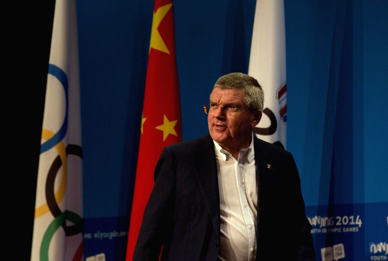 International Olympic Committee President Thomas Bach attends the press conference of International Olympic Committee in Nanjing, capital of east China's Jiangsu ...