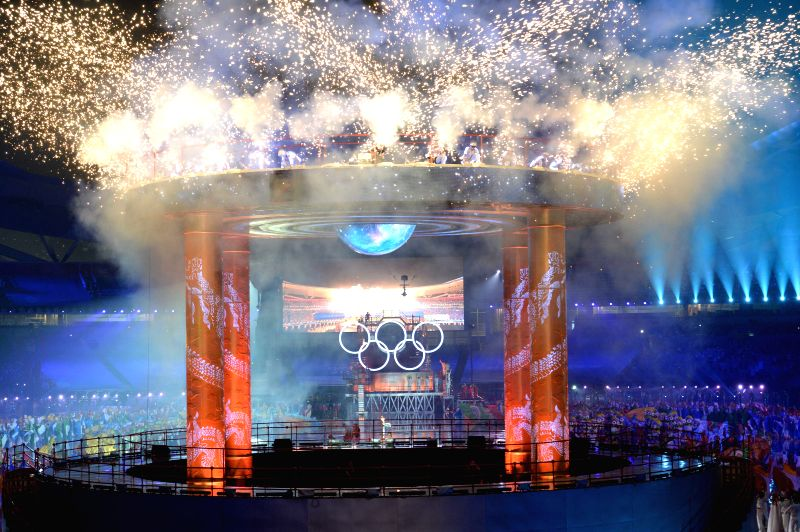 The cauldron is lit up during the Nanjing 2014 Youth Olympic Games opening ceremony in Nanjing, capital of east China?s Jiangsu Province.