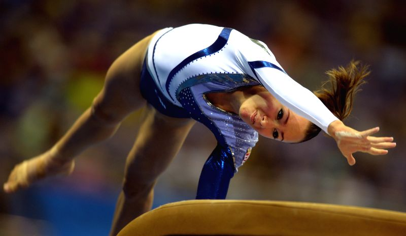 Boglarka Deval of Hungary performs during the Women's qualification of Artistic Gymnastics at the Nanjing 2014 Youth  Olympic Games in Nanjing, east China's Jiangsu