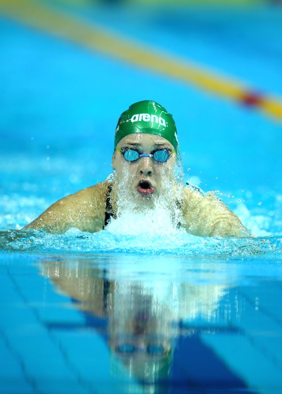 Ruta Meilutyte of Lithuania competes during the Women's 50m Breastsroke match at Nanjing 2014 Youth Olympic Games in Nanjing, capital of east China's Jiangsu ...