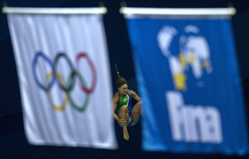 Laura Bilotta of Italy  competes in the the Women's 3m Springboard Preliminary at Nanjing 2014 Youth Olympic Games in Nanjing, east China's Jiangsu Province, Aug. ..