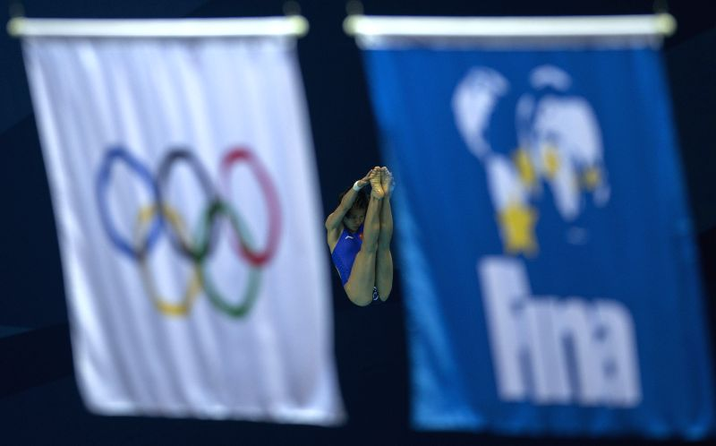 Wu Shengping of China competes in the the Women's 3m Springboard Preliminary at Nanjing 2014 Youth Olympic Games in Nanjing, east China's Jiangsu Province, Aug. 25,