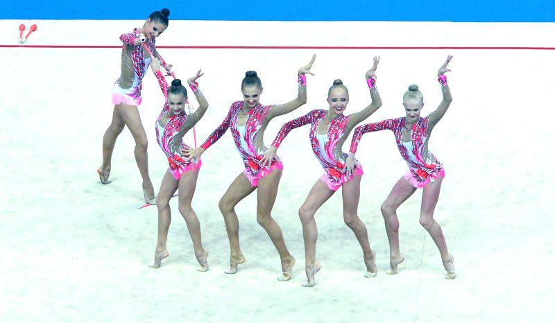 Athletes of Russian Federation compete during Group All-Around event of rhythmic gymnastic competition at Nanjing 2014 Youth Olympic Games in Nanjing, capital of ...