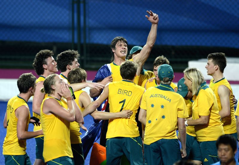 Team Australia celebrate after the men's hockey5s final against Canada at Nanjing 2014 Youth Olympic Games in Nanjing, capital of east China's Jiangsu Province, on .