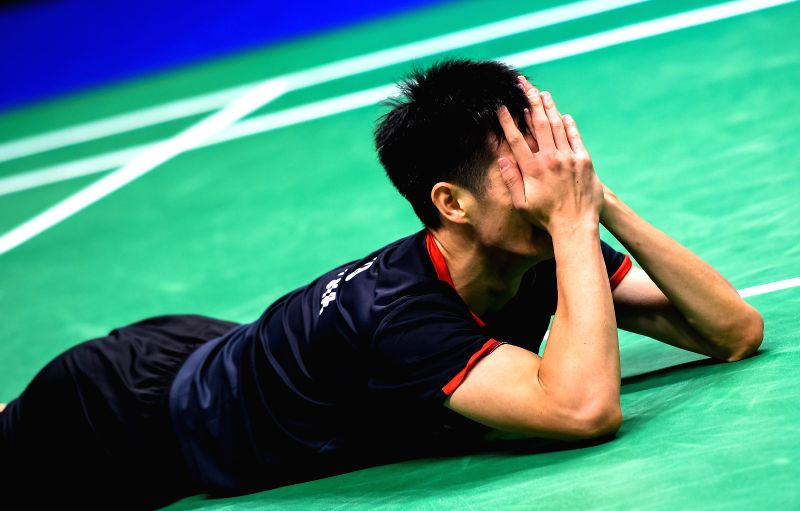 NANJING, Aug. 3, 2018 - Daren Liew of Malaysia celebrates after the men's singles quarterfinal match against Kanta Tsuneyama of Japan at the BWF (Badminton World Federation) World Championships 2018 ...