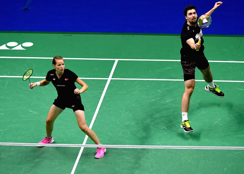 NANJING, Aug. 3, 2018 - Mathias Christiansen (R)/Christinna Pedersen of Denmark compete during the mixed doubles quarterfinal match against Zhang Nan/Li Yinhui of China at the BWF (Badminton World ...