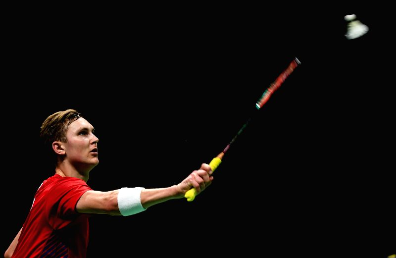 NANJING, Aug. 3, 2018 - Viktor Axelsen of Denmark competes during the men's singles quarterfinal match against Chen Long of China at the BWF (Badminton World Federation) World Championships 2018 in ...