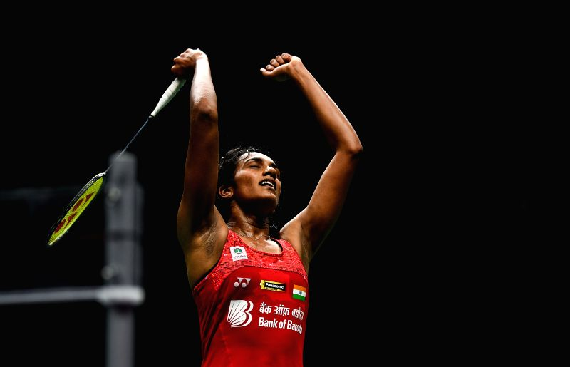 NANJING, Aug. 4, 2018 - Pusarla V. Sindhu of India celebrates after winning the women's singles semifinal match against Akane Yamaguchi of Japan at the BWF (Badminton World Federation) World ...