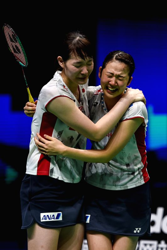 NANJING, Aug. 5, 2018 - Mayu Matsumoto (L) and Wakana Nagahara of Japan celebrate after winning the women's doubles final match against Yuki Fukushima and Sayaka Hirota of Japan at the BWF (Badminton ...