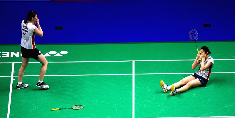 NANJING, Aug. 5, 2018 - Mayu Matsumoto (L) and Wakana Nagahara of Japan celebrate after winning the women's doubles final match against Yuki Fukushima and Sayaka Hirota of Japan at the BWF (Badminton ...