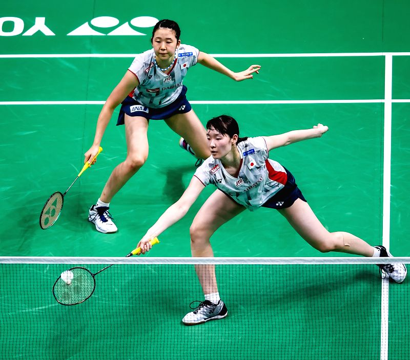 NANJING, Aug. 5, 2018 - Mayu Matsumoto (R) and Wakana Nagahara of Japan compete during the women's doubles final match against Yuki Fukushima and Sayaka Hirota of Japan at the BWF (Badminton World ...