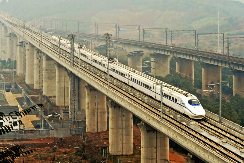 Nanjing (China): A train runs from Nanjing, capital of east China's Jiangsu Province, to Changsha, capital of central China's Hunan Province, on the Shanghai-Kunming high-speed railway, in Yiwu, east