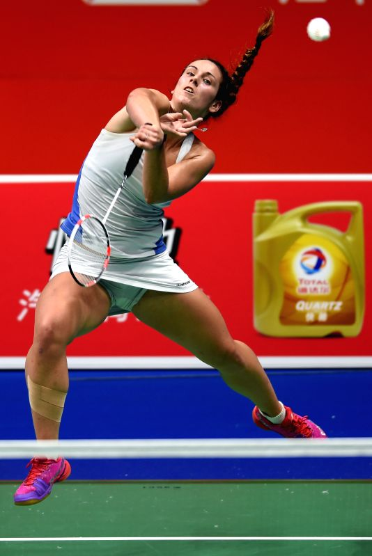NANJING, July 30, 2018 - Chloe Birch of England returns the shuttlecock during the women's round 1 match against Beatriz Corrales of Spain at the BWF World Championships in Nanjing, China, on July ...