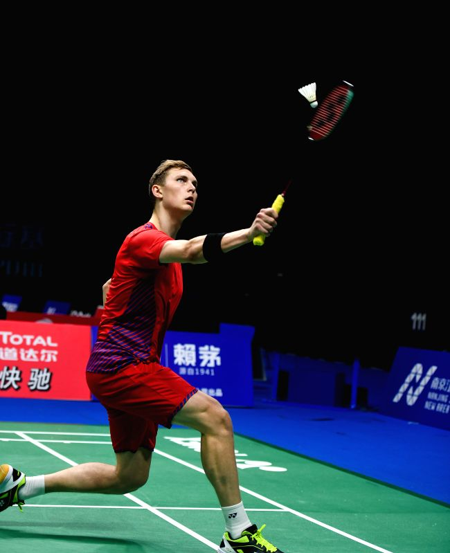 NANJING, July 30, 2018 - Viktor Axelsen of Denmark returns a shot during the first round match against Duarte Nuno Anjo of Portugal at the 2018 BWF World Championships in Nanjing, capital of east ...