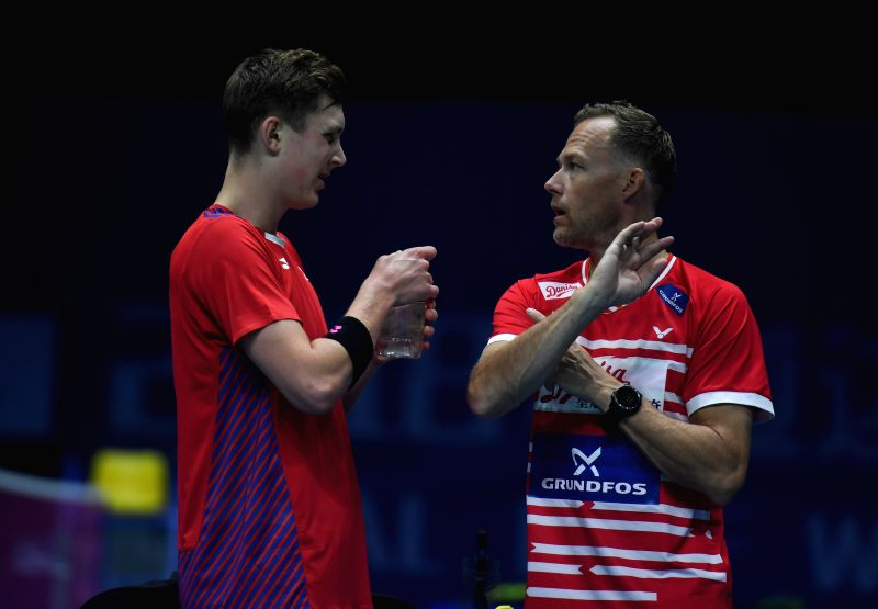NANJING, July 30, 2018 - Viktor Axelsen of Denmark receives instructions from his coach during the first round match against Duarte Nuno Anjo of Portugal at the 2018 BWF World Championships in ...