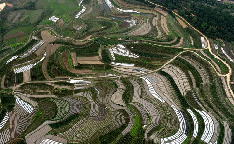 Aerial photo taken on Feb. 18, 2015 shows the scenery of rural areas in Nanning, capital of south China's Guangxi Zhuang Autonomous Region.