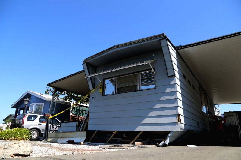 NAPA (U.S.), Aug. 25, 2014 A trailer's base slopes after an earthquake in Napa, the U.S., Aug. 24, 2014. An earthquake with preliminary magnitude of 6.0 that hit northern California's ...