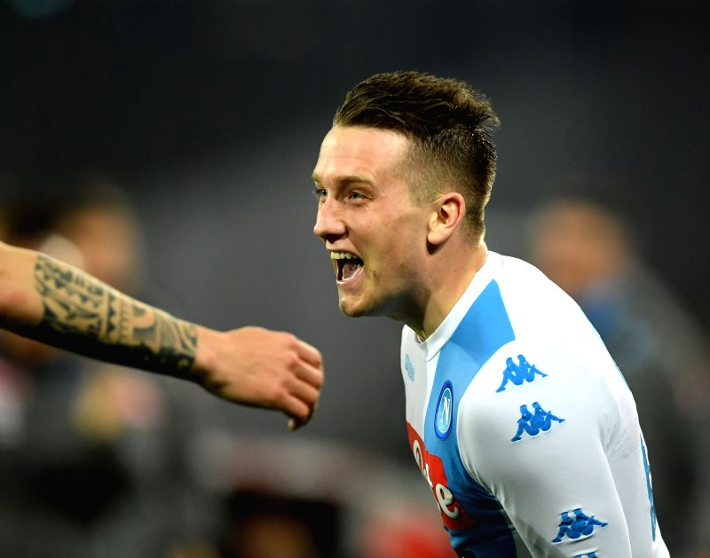 NAPLES, Feb. 11, 2017 - Napoli's Piotr Zielinski celebrates his goal during the  Italian Serie A soccer match between Napoli and Genoa in Naples, Italy, Feb. 10, 2017. Napoli won 2-0.
