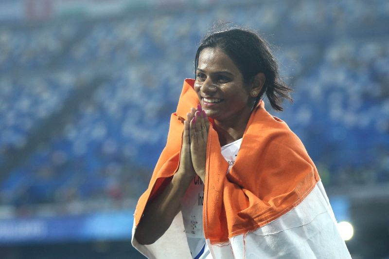 NAPLES, July 10, 2019 (Xinhua) -- Dutee Chand of India celebrates her victory after the Women's 100m Final at the 30th Summer Universiade in Naples, Italy, July 9, 2019. (Xinhua/Zheng Huansong/IANS)