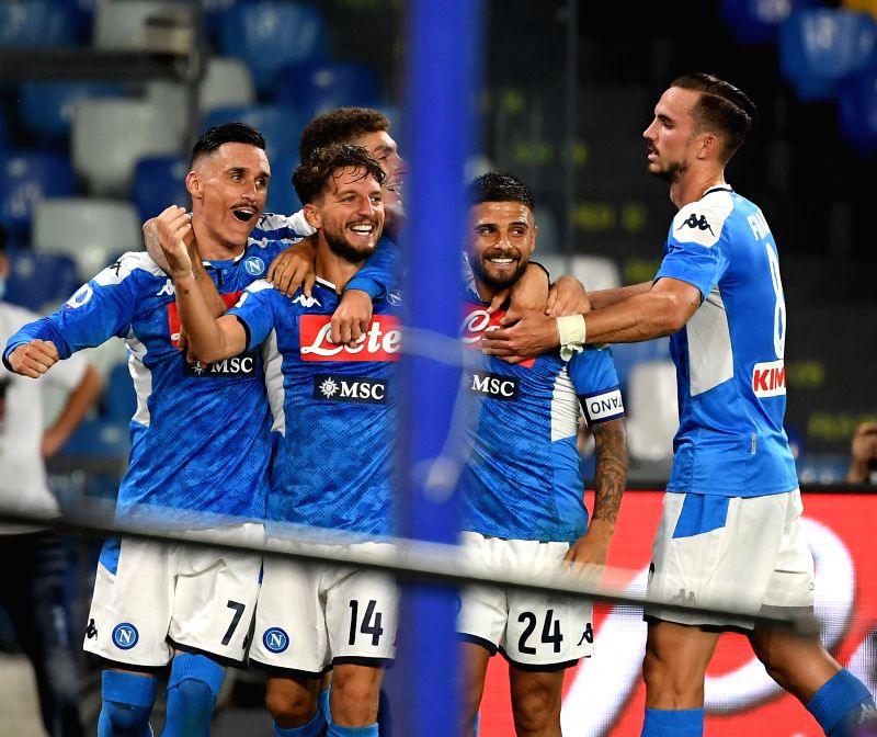 NAPLES, July 13, 2020 (Xinhua) -- Napoli's Dries Mertens (2nd L) celebrates with teammates during a Serie A football match between Napoli and AC Milan in Naples, Italy, July 12, 2020. (Photo by Alberto Lingria/Xinhua/IANS)