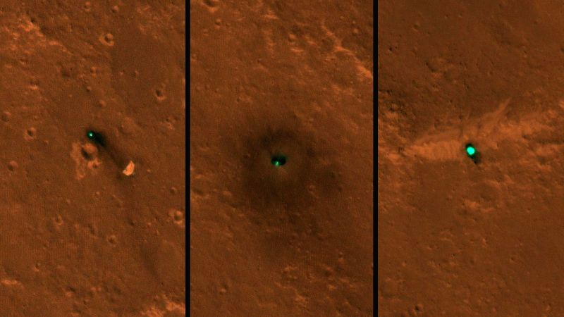 NASA's InSight spacecraft, its heat shield and its parachute were imaged by the HiRISE camera onboard NASA's Mars Reconnaissance Orbiter.