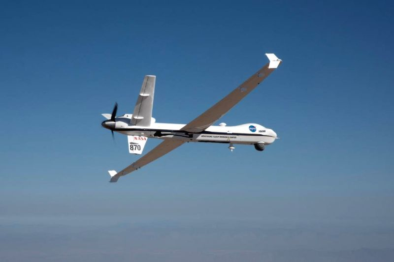 NASA's remotely-piloted Ikhana aircraft flies in US' public airspace without a safety chase plane. (Photo Credit: NASA)
