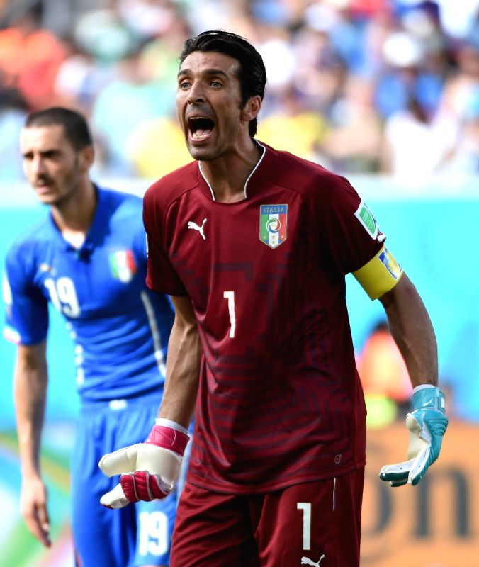 Italy's goalkeeper Gianluigi Buffon reacts during a Group D match between Italy and Uruguay of 2014 FIFA World Cup at the Estadio das Dunas Stadium in Natal, Brazil, ...