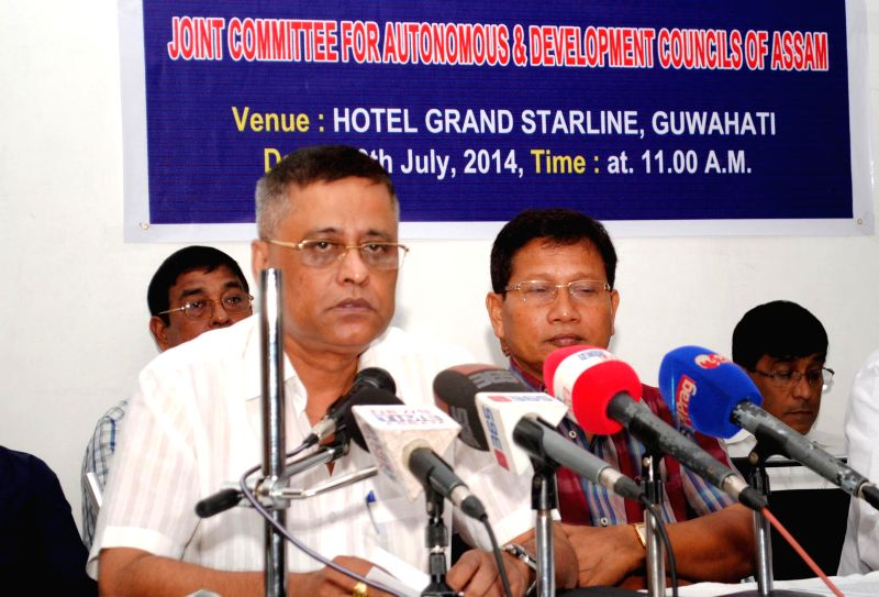 Nath-Yogi Development Council Chairman Dhiren Nath addresses a press conference organised by Joint Committee for Autonomous and Development Council of Assam in Guwahati on July 19, 2014.