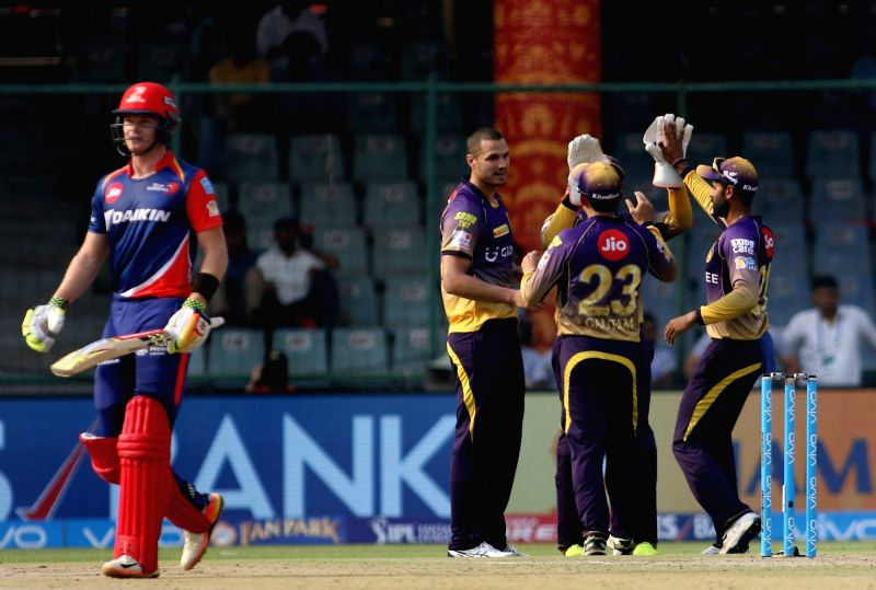 Nathan Coulter-Nile of Kolkata Knight Riders celebrates fall of Sam Billings's wicket during an IPL 2017 match between Delhi Daredevils and Kolkata Knight Riders at Feroz Shah Kotla in New ... - Feroz Shah Kotla