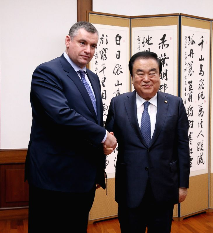 National Assembly Speaker Moon Hee-sang (R) meets with Leonid Slutsky, chairman of the international affairs committee of the Russian parliament's lower house, at his office at the National ... - Moon Hee