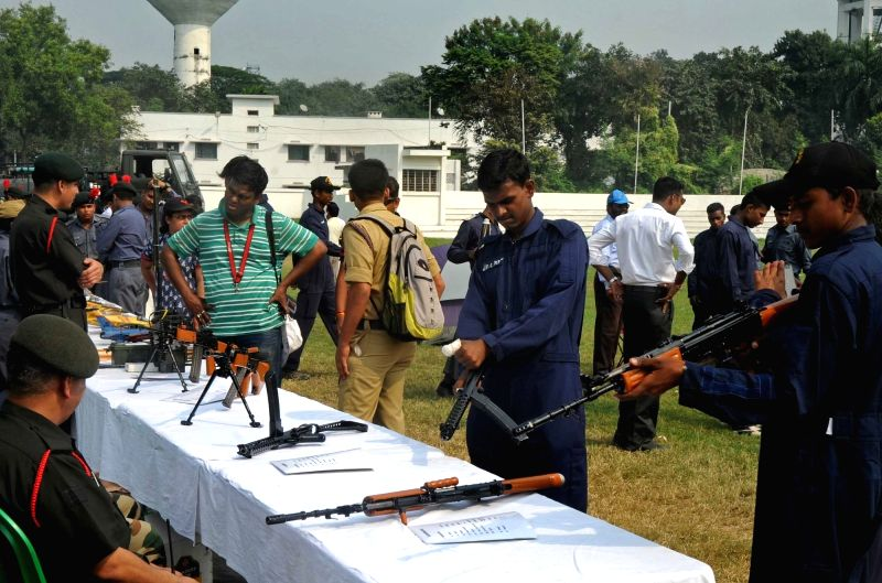 National Cadet Corps (NCC) cadets  during a programme organised on NCC Raising Day at Fort William Stadium in Kolkata, on Nov 29, 2015.