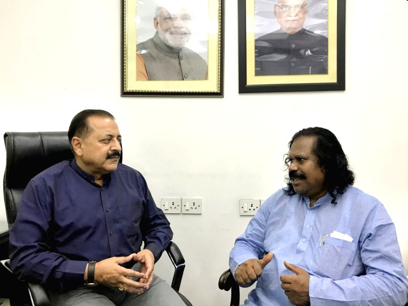 National Commission for Scheduled Tribes Chairperson Nand Kumar Sai calls on Union MoS PMO Jitendra Singh, in New Delhi, on Aug 7, 2018. - Jitendra Singh