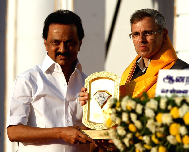 National Conference leader Omar Abdullah with DMK working president M.K. Stalin during DMK chief Karunanidhi's birthday celebrations in Chennai on June 3, 2017.