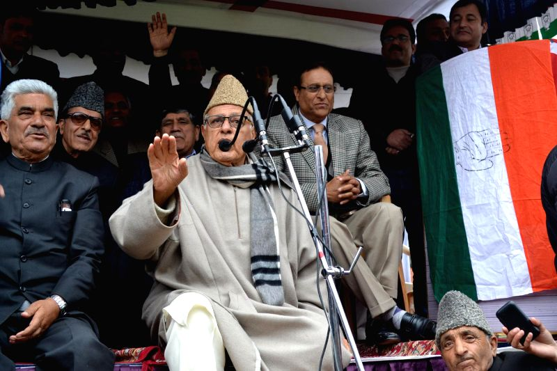 National Conference president and Union minister Farooq Abdullah addresses a rally in Baramulla of Jammu and Kashmir on April 16, 2014.