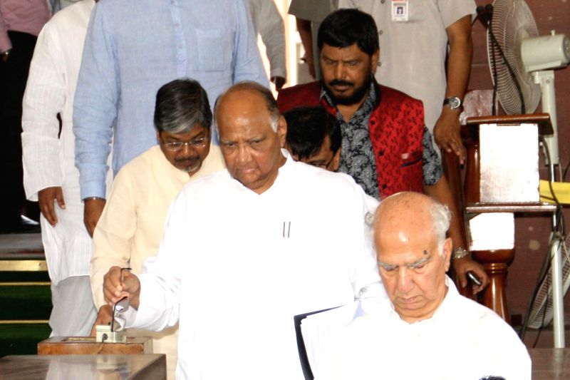 National Congress Party (NCP) chief Sharad Pawar in the Parliament after Union Railway Minister D.V. Sadananda Gowda presented rail budget 2014-15 in New Delhi on July 8, 2014. - D.