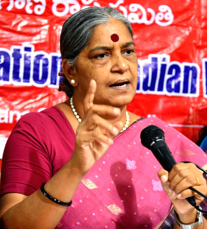 National Federation of Indian Women General Secretary Annie Raja talks to the media, in Hyderabad on Aug 9, 2018.